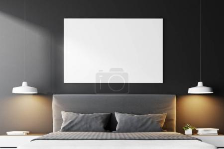 Gray panoramic bedroom interior with a concrete fl...