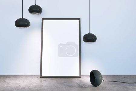 White empty room with lamps and poster