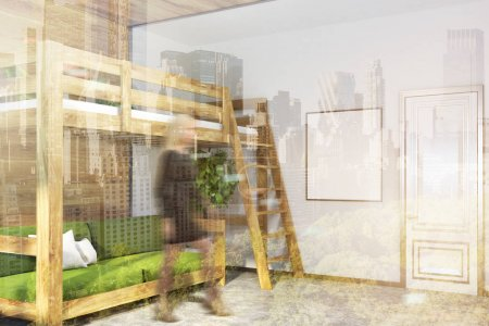 Photo pour Coin chambre moderne avec des murs vert foncé, blanc et en bois, un sol en béton, et un lit mezzanine avec un canapé vert en dessous. Une affiche. Une femme 3d rendant maquette image tonique double exposition floue - image libre de droit