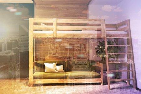 Photo pour Intérieur moderne de la chambre avec des murs vert foncé et en bois, un plancher en bois, et un lit mezzanine avec un canapé bleu en dessous. 3d rendu maquette image tonique double exposition - image libre de droit