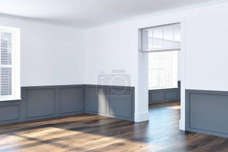Photo pour Coin chambre vide avec murs blancs et gris, grandes fenêtres et un sol en bois sombre. Concept d'achat d'une maison neuve 3d rendu maquette - image libre de droit