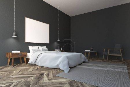 Dark gray Scandinavian style bedroom corner with a...