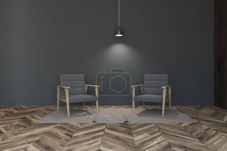 Photo for Dark gray living room corner with a wooden floor and two gray velvet armchairs standing on a rug. 3d rendering mock up - Royalty Free Image