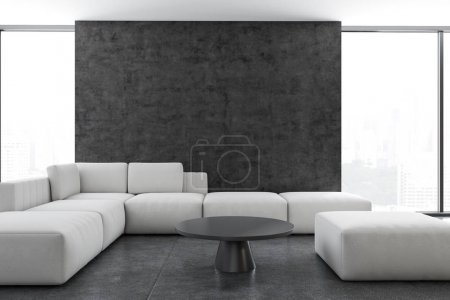Living room interior, white sofa