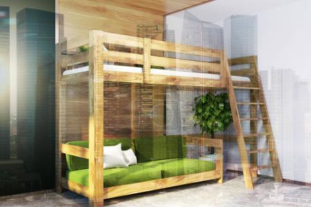 Photo pour Coin chambre moderne avec des murs vert foncé, blanc et en bois, un sol en béton, et un lit mezzanine avec un canapé vert en dessous. 3d rendu maquette image tonique double exposition - image libre de droit