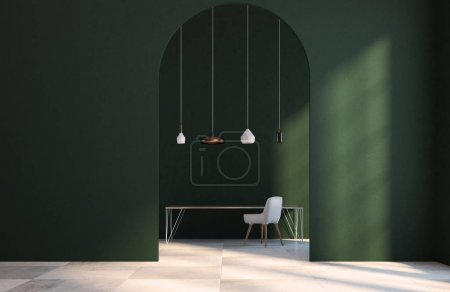 Emerald home office interior, door