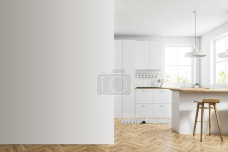 White kitchen with a bar, mock up wall