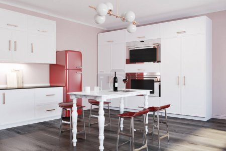 Luxury marble table kitchen corner, red fridge