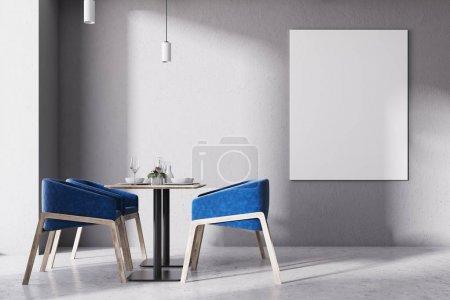 Affiche intérieure de chaises bleu loft café bouchent