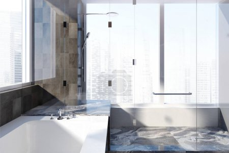 Black marble bathroom interior