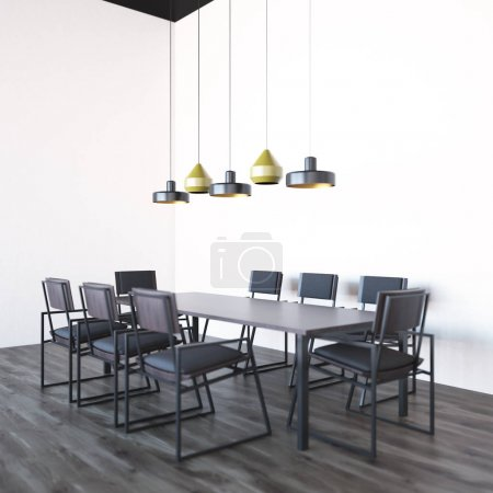 Photo pour Coin salle de conférence blanc avec un plancher en bois et une table en bois avec chaises noires debout autour de lui. rendu 3D - image libre de droit
