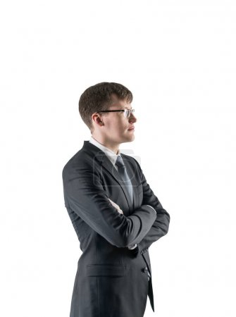 Confident cross armed businessman, isolated