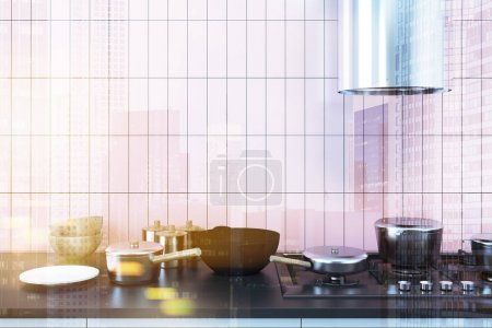 Photo for Pink tiled kitchen interior with a black countertop, a stove and dishes. A front view. Concept of home made food. 3d rendering mock up toned image double exposure - Royalty Free Image
