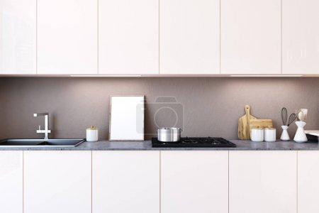 White kitchen countertop, poster