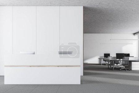White recption desk in modern office