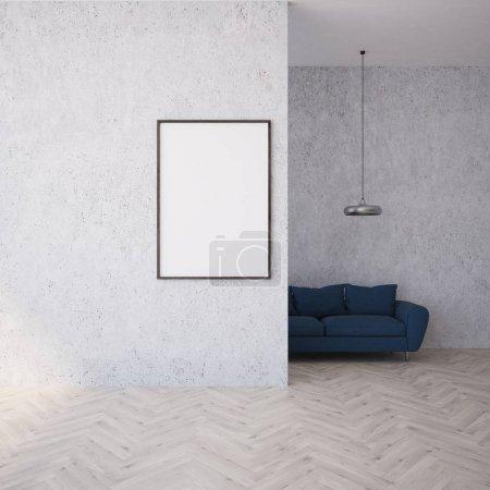 White living room, black sofa, poster