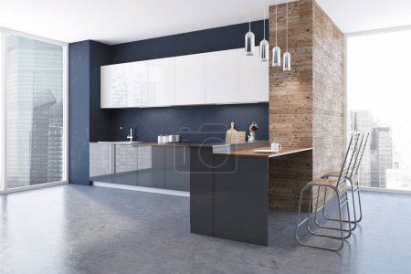 Loft black and wooden wall kitchen interior with a concrete floor, white and gray countertops and original ceiling lamps. A side view. 3d rendering mock up