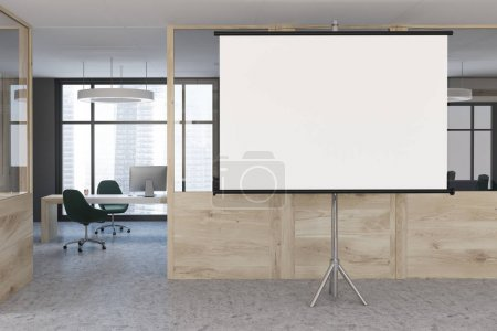 Wooden wall office lobby, projector screen