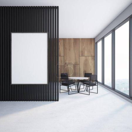 Foto de Interior de un comedor de madera con piso de concreto, ventanas grandes y una mesa redonda con sillas. Un cartel vertical en una pared negra. Render 3D mock up - Imagen libre de derechos