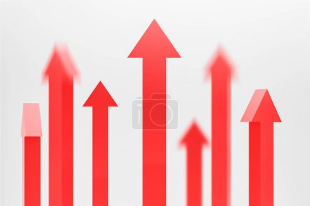 Blurry red arrows pointing up, growth concept