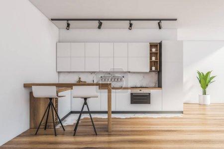 Photo pour Intérieur de la cuisine moderne avec murs blancs et de marbre, plancher en bois, comptoirs blancs avec électroménagers intégrés et bar avec tabourets. 3d Rendu - image libre de droit