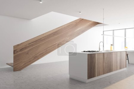 Photo pour Coin cuisine élégante avec murs blancs, sol en béton, fenêtre panoramique, île blanche et en bois avec évier et four et escalier au deuxième étage. 3d Rendu - image libre de droit