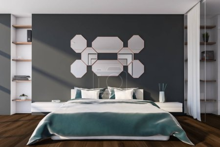 Interior of master bedroom with gray and white wal...