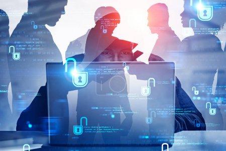 Hacker stealing business people data