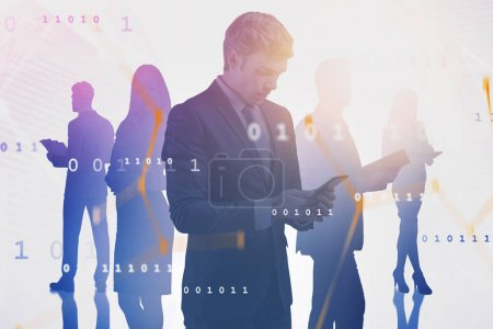 Man with smartphone and his team, network