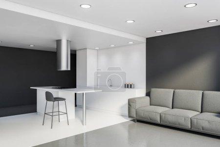 Photo pour Coin cuisine moderne avec murs blancs et gris, sol en béton, comptoirs blancs, bar avec tabouret et confortable canapé gris. 3d Rendu - image libre de droit