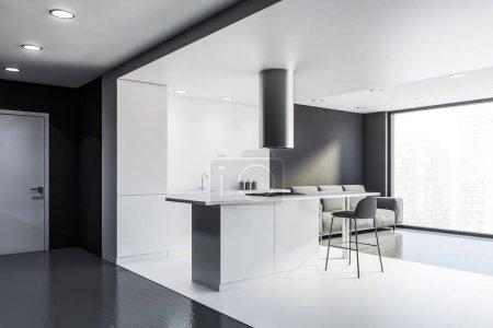 Photo pour Coin cuisine panoramique avec murs blancs et gris, sol en béton, comptoirs blancs, bar avec tabouret et confortable canapé gris. 3d Rendu - image libre de droit