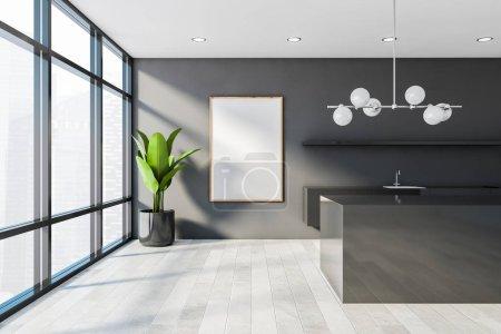 Photo pour Intérieur de cuisine minimaliste avec murs blancs et gris, parquet, comptoirs gris, étagère et îlot gris foncé. Maquette verticale du cadre de l'affiche. 3d Rendu - image libre de droit