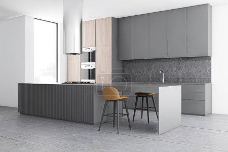 Photo pour Coin cuisine moderne avec murs blancs et béton, carrelage, placards en bois avec fours et bar gris avec tabourets. 3d Rendu - image libre de droit