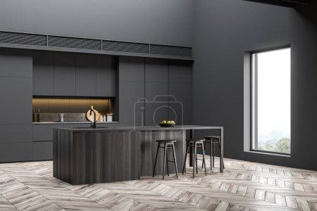 Photo pour Coin cuisine de style industriel avec murs gris foncé, parquet, comptoirs et placards gris et confortable bar en bois foncé avec tabourets. 3d Rendu - image libre de droit