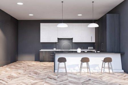 Photo pour Intérieur de la cuisine moderne avec murs gris, parquet, placards blancs, comptoirs gris avec évier et cuisinière intégrés et confortable bar blanc avec tabourets. 3d Rendu - image libre de droit