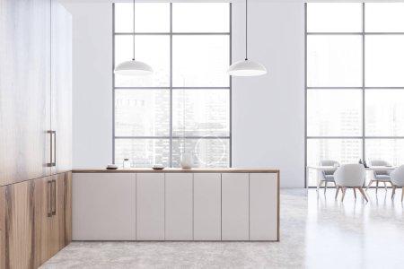Photo pour Intérieur de cuisine de style avec murs blancs, sol en béton, comptoirs blancs, placards en bois et longue table à manger en bois avec fauteuils blancs. 3d Rendu - image libre de droit