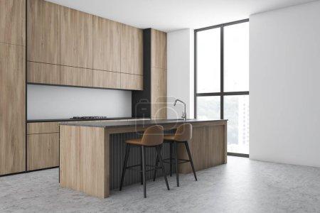 Photo pour Coin cuisine élégante avec murs blancs, sol en béton, comptoirs et placards en bois et bar avec tabourets. 3d Rendu - image libre de droit