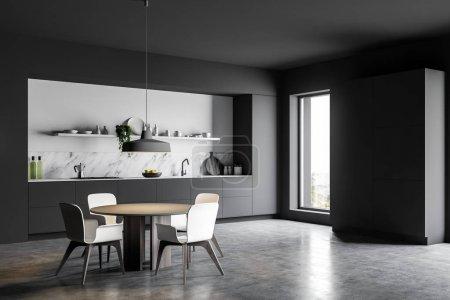 Photo pour Coin cuisine de luxe avec murs en marbre gris et blanc, sol en béton, comptoirs gris, grand placard et table ronde avec chaises. 3d Rendu - image libre de droit