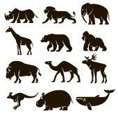 A set of 12 vector icons of black wild mammals on a white background