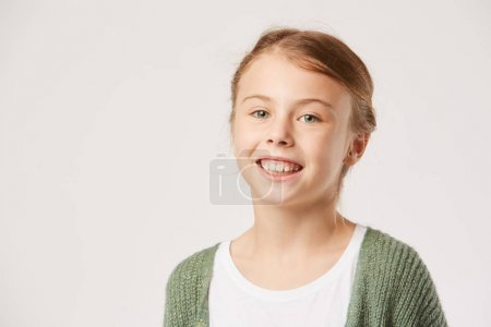 Photo for Portrait of happy little girl on white background - Royalty Free Image