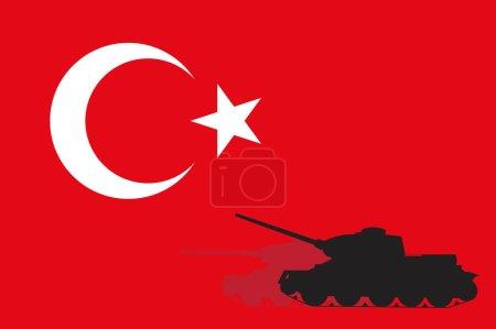 Tank on the Turkish flag