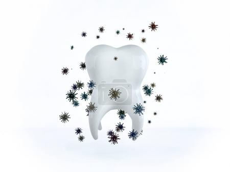 The tooth is surrounded by bacteria and microbes