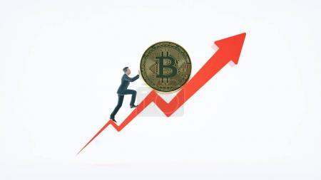 Bitcoin arrow up for increasing value and businessman. Gains and success in crypto bitcoin investments. Financial upswing concept.