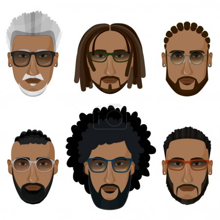 Hipsters bearded african men with different hairstyles, mustache
