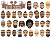 Superset of 30 hipsters bearded men with different hairstyles m