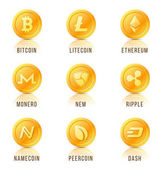 Set of cryptocurrency coin symbols icons signs emblems