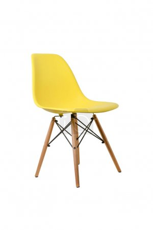 Photo for Yellow color chair isolated on white background. Series of furniture - Royalty Free Image