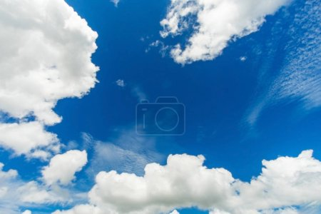 Photo for Blue sky background with white fluffy clouds - Royalty Free Image