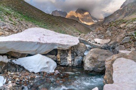 The beautiful view of frozen glacier and Kaznok ri...