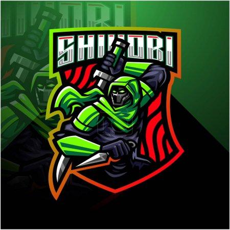 Conception du logo de la mascotte Shinobi esport